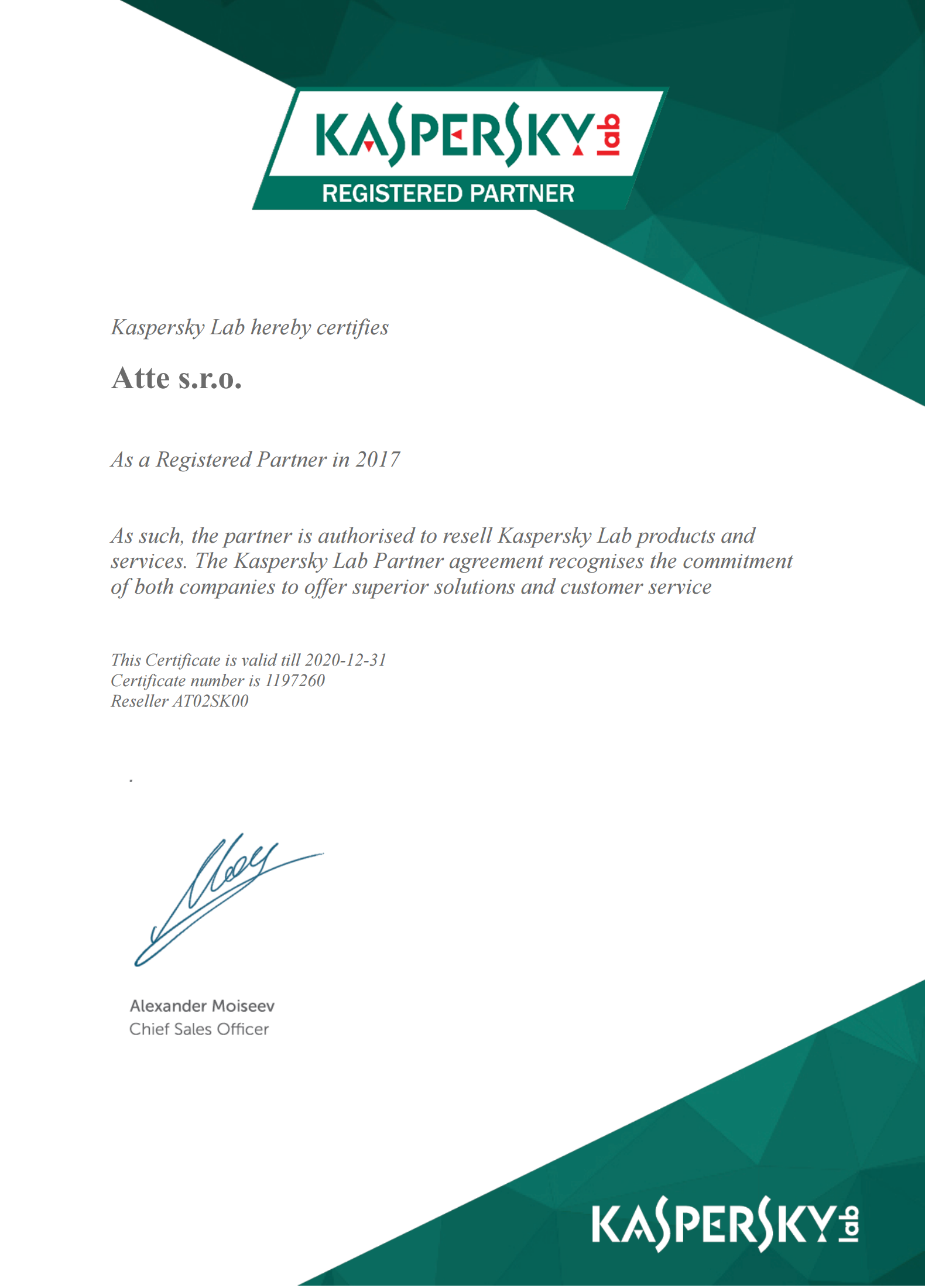 Atte Kaspersky Lab Registered Partner